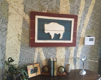 Wyoming Buffalo Wooden Flag - Hand Painted Buffalo - Wyoming Flag -State of Wyoming Pride - Home Decor Wyoming flag