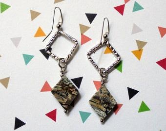 Blach, Gray and Tan Stone Earrings (2461)