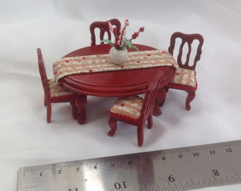 Dolls House Miniatures - Hand Dressed Dining Table Set 1/24th (1/2 inch bed) -  NEW SPRING 2016