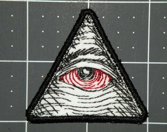 "Eye of Providence Seeing Red Iron on Patch-  2""."