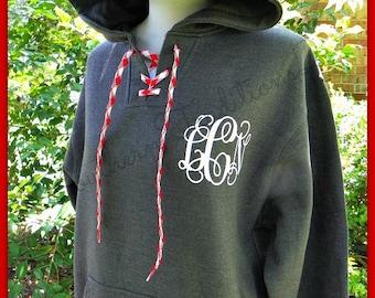 Monogram Spirit Hoodie Fleece Jacket - Monogram lace up Hockey Sweatshirt