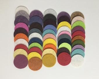 Wool Felt Circles 50 - 1 inch Random Colored 3456  - felted circles - circle die cuts - 1 inch circle die cut - headband supplies