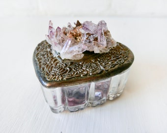 Vera Cruz Amethyst Crystal Cluster - Vintage Heart Jewelry Box - One of a Kind Gift