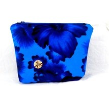 Make Up Bag, Blue and Black, Pansy Fabric, Cosmetic Bag, Clutch Purse, Gold Button, Handmade Accessory