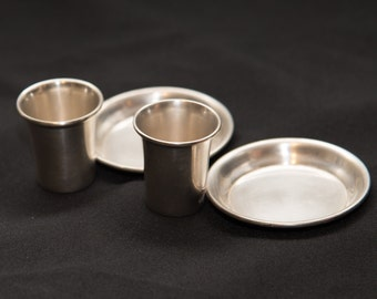 Sterling Silver Vintage 1940-50s Candle Holders with match plate attached