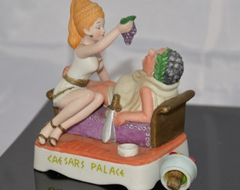 1983 Caesars Palace Empty Bottle Ceramic 335 of 1200 Girl Feeding Grapes Casino Collectibles