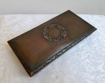 Vintage Metal Box Copper Bronze French Fleur de Lis Medallion by L. E. Mason Co. Boston Mass.