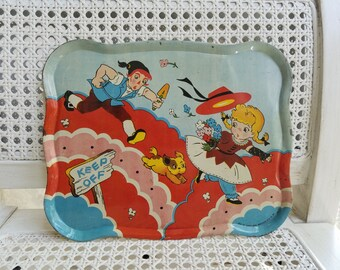 Vintage Metal Tray by Ohio Art Co. Children's Toy Collectible Tin, Boy Girl Dog Running 8 x 10 Size