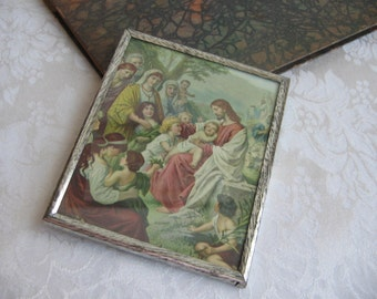 Vintage Jesus With Children Wall Art Print in Silver Metal Frame, Religious Blessing