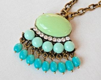 Egyptian Revival Necklace Turquoise Beads Goldtone Dangle Pendant Tassle Pendant 1980s Plastic Stones Crystal Rhinestones Boho