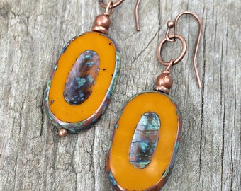 Orange earrings, orange jewelry, Czech glass jewelry, dangle earrings, orange drop earrings with copper