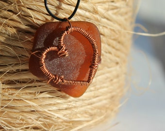 Copper Heart Amber Brown Sea Glass Love Necklace Beach Glass Pendant