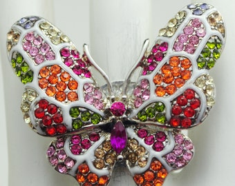 Colorful Butterfly Ring/Statement Ring/Rhinestone/Gift For Her/Spring/Summer Jewelry/Nature Jewelry/Under 20 USD/Adjustable