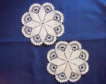 Pair Cream Crocheted doilies, 7 inches, Hand made Doily, Crochet Lace