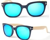 Sale - 50% off black Friday  bamboo arms Prescription RX handmade Mercury mirror polarized cheap sunglasses