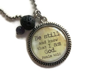 Religious Quote Necklace   Lava Rock Essential Oil Necklace   Amethyst Necklace   Be Still and Know That I Am God, Oil Necklace   Lava Stone