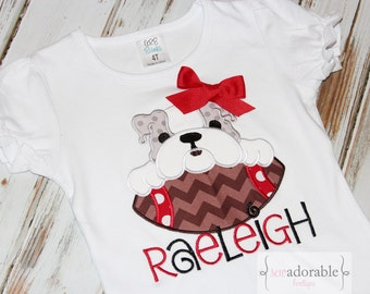 Personalized Georgia Bulldog Football Applique Ruffle Shirt or Bodysuit
