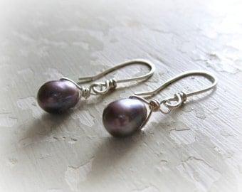 Freshwater Pearl Earrings, Bridesmaids Earrings, Peacock Pearl Dangles, Wedding Jewelry, Sterling Earrings, Bridal Jewelry, Natural Pearls