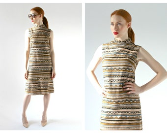 60s Aztec Patterned Shift Dress- High Collar, S/M, 4, Minimalist Earth Tones, Chic, Taupe Desert Tones,