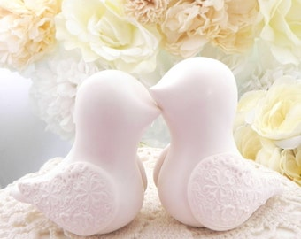 Ivory Love Bird Cake Topper, Wedding, Anniversary, Bride and Groom - Simple and Elegant, Keepsake