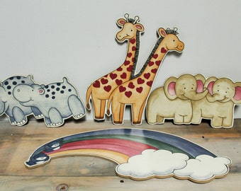 Noah's Ark Wall Hangings, Nursery Decor, Child's Bedroom Decoration
