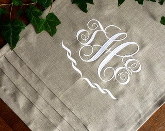 Custom Monogram Table Runner Embroidered Natural Linen Buffet Cloth Wedding Gift 50 inches long