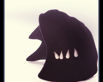 Art Nouveau Hat Antique Millinery Toque Black Velvet Pearl Beaded True Vintage Accessory