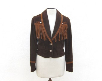 Boho Hipster Fringe Suede Jacket Southwestern Bohemian Brown and Tan Suede Ladies Size S/M