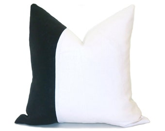 Linen Colorblock Pillow - Black and White Pillow Cover - Black Pillow - White Pillow - Linen Pillow - Decorative Pillow