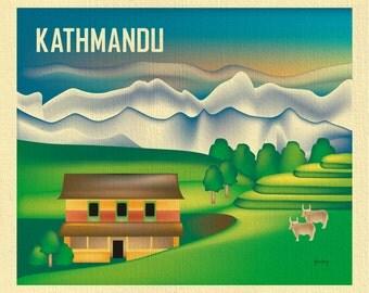 Kathmandu Nepal Art, Nepal map, Kathmandu skyline art, Mt Everest Print, Kathmandu Wall Art, Kathmandu, Nepal yak art poster- style E8-O-KAT