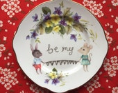 Mouse and Bunny Vintage Illustrated Valentines Day Plate