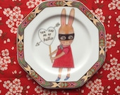 You Had Me At Hello Bandit Bunny with Aztec Border Vintage Illustrated Valentines Day Plate