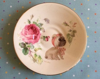 Baby Roses Fawn Pug Vintage Illustrated Plate