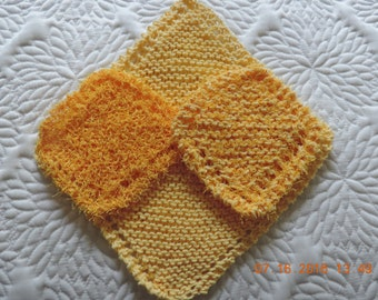 Hand knitted yellow dishcloths/washcloths