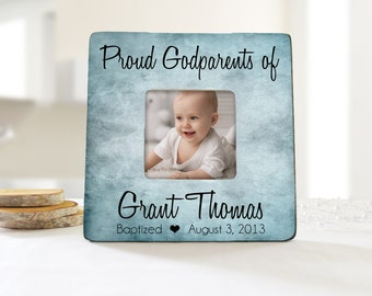 proud godparents personalized picture frame personalized baptism frame godparent gift idea