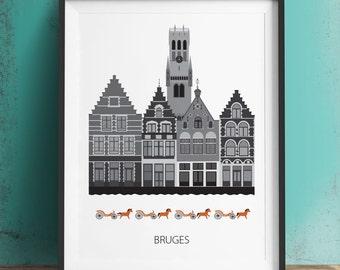 Bruges, Belgium, city print, Scandinavian design,  Belfry Tower of Bruges, modern poster