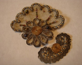 Reserve Vintage Trim Applique Lace Net Beaded Gold Silver Thread