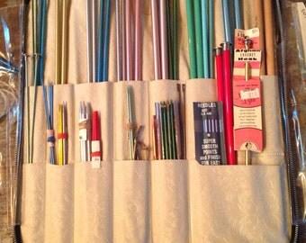 Vintage Knitting Needle Lot Storage Zipper Case