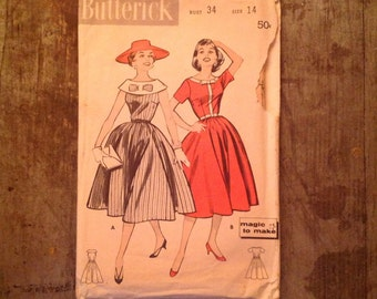1950's Vintage Butterick Sewing Pattern 8408 Misses' Dress with Bodice Interest Sz 14