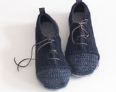 House Shoes Sneakers with Leather Sole in black and dark grey (no tongue) - all adult shoe sizes US 4-12 EUR 35-46