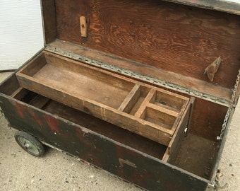 Vintage Wooden tool chest. Rolling tool chest.