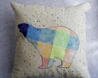 Bear Pillow in Patchwork