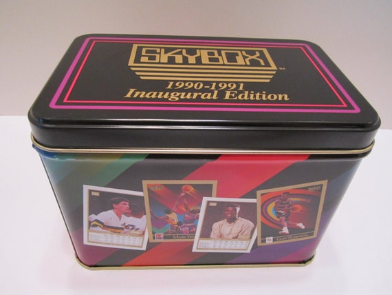 Skybox 1990-1991 Inaugural Edition Vintage Tin - Official NBA Licensed Product - Collectible NBA Sports Tin Container