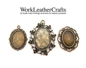 ZINC antique brass vintage frame charm pendant pewter
