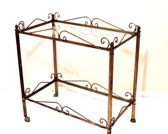 vintage brass bar cart - 1950s-60s mid century hollywood regency glass serving cart