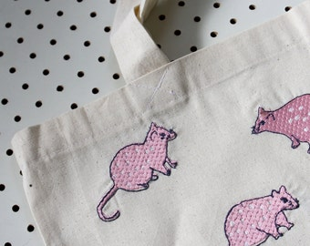 Stitched Spotted Quoll Tote - Light Pink