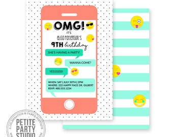 Emoji Printable Party Invitation - Birthday or Baby Shower - Petite Party Studio
