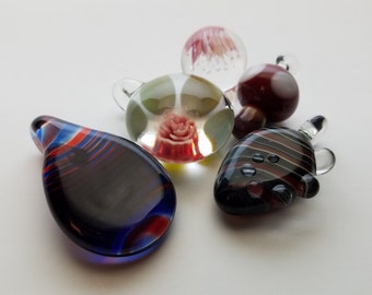Wholesale Clearance Lot of 5 Flameworked Glass Pendants