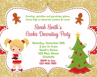 Cookie Decorating Party Invitation  - Christmas cookies Christmas Birthday Party