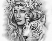 Beautiful Strength Cherry Blossom Flower White Tiger Girl Spring Art Print Glossy Emo Fantasy Girl Zindy Nielsen